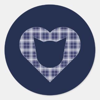 Sticker Rond Chat de plaid/autocollant Bleu-et-Blancs de coeur