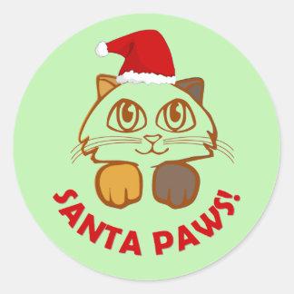 """Sticker Rond Chat drôle de """"pattes de Père Noël"""" de Noël"""