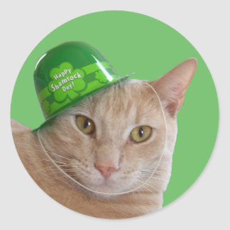 Sticker Rond Chat orange mignon utilisant un casquette