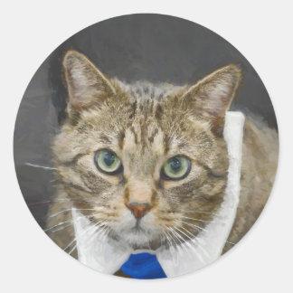 Sticker Rond Chat tigré brun aux yeux verts mignon portant une