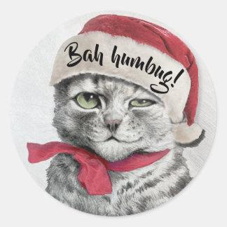 Sticker Rond Chat vintage de casquette de Wain Père Noël