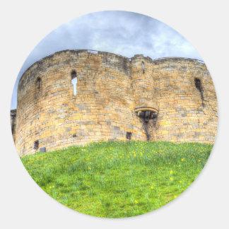 Sticker Rond Château et jonquilles de York