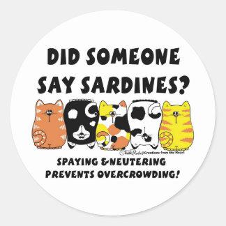 Sticker Rond Chats de sardine