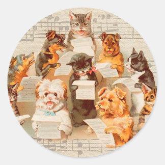 Sticker Rond Chats et chiens chantant, Arthur vintage Thiele