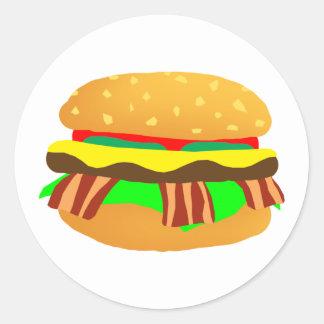 Sticker Rond Cheeseburger de lard
