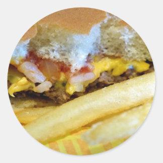 Sticker Rond Cheeseburger et fritures