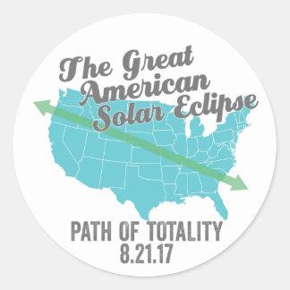 Sticker Rond Chemin 2017 d'éclipse solaire de la totalité