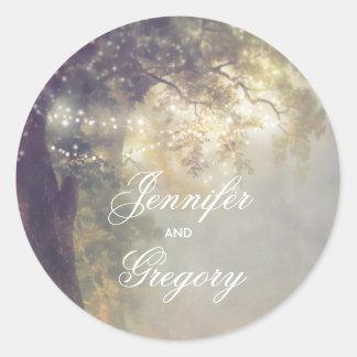 Sticker Rond Chêne rustique et mariage vintage de lumières de