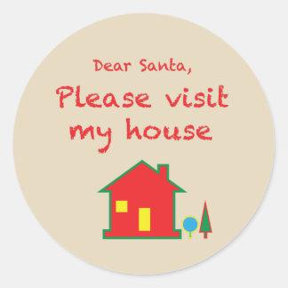 Sticker Rond Cher Père Noël satisfont visitent ma Chambre