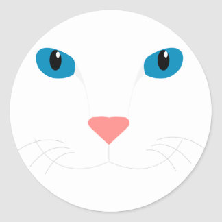 Sticker Rond Chère Chat Blanc