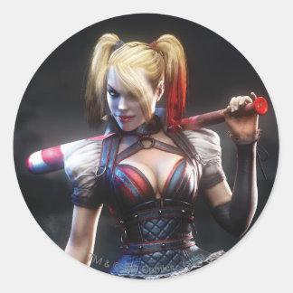 Sticker Rond Chevalier de Batman Arkham   Harley Quinn avec la
