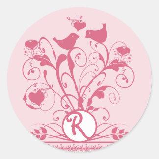 Sticker Rond Chèvrefeuille de remous de coeurs d'oiseaux de