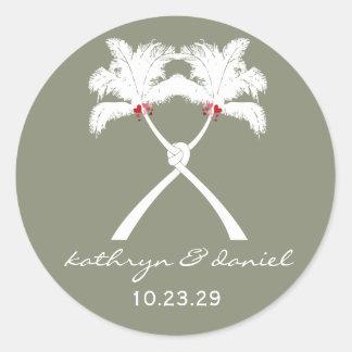 Sticker Rond Chic moderne de mariage tropical de plage de