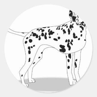 Sticker Rond Chien de Dalmation