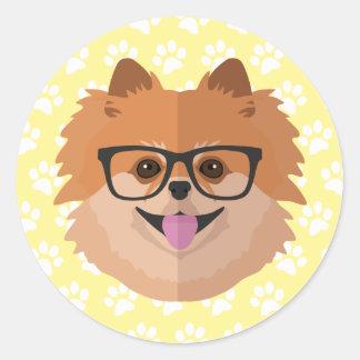 Sticker Rond Chien de Pomeranian en cadeau mignon nerd de