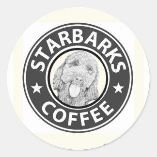 Sticker Rond chien Starbucks