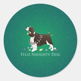 Sticker Rond Chien vilain de Feliz de chien de springer spaniel