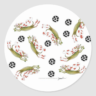 Sticker Rond chiens du football de rouges