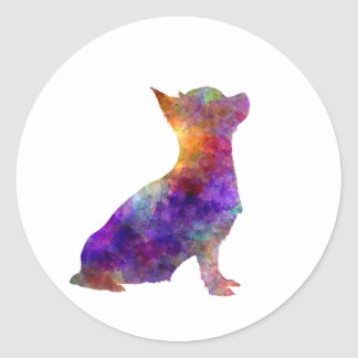Sticker Rond Chihuahua 01 in watercolor 2