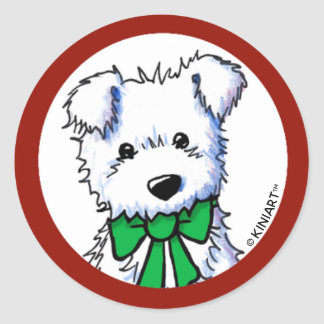 Sticker Rond Chiot de KiniArt Westie