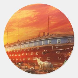 Sticker Rond Chrétien - l'arche de Noé - le début