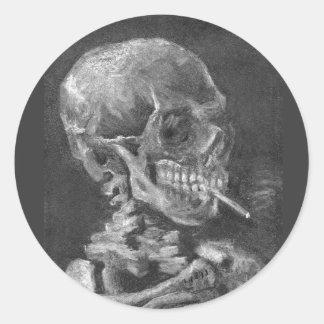 Sticker Rond Cigarette de tabagisme de crâne d'autocollant de