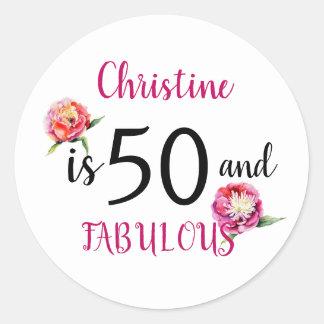 Sticker Rond Cinquante et fête d'anniversaire fabuleuse