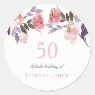 Sticker Rond Cinquantième anniversaire d'aquarelle florale rose