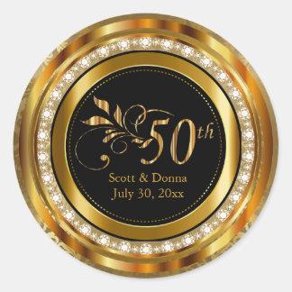 Sticker Rond Cinquantième anniversaire de mariage d'or élégant