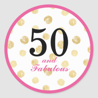 Sticker Rond cinquantième et fabuleuse fête d'anniversaire