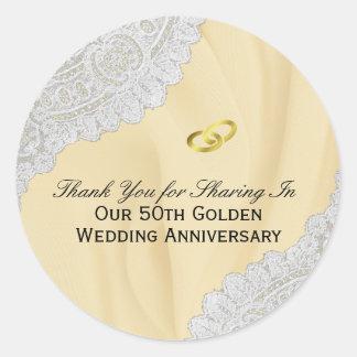 Sticker Rond cinquantième Merci d'anniversaire de mariage d'or