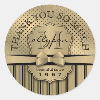 Sticker Rond Cinquantième point de polka d'or de Champagne