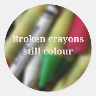 Sticker Rond Citation cassée de crayons