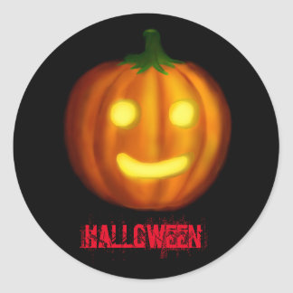 Sticker Rond Citrouille de Halloween
