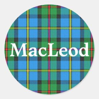 Sticker Rond Clan écossais MacLeod de plaid de tartan de Harris