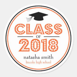 Sticker Rond Classe 2018 de faveur d'obtention du diplôme