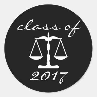 Sticker Rond Classe d'école de droit de 2017 (échelles de noir