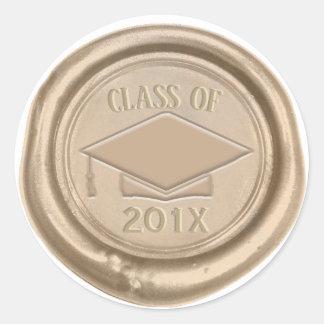 Sticker Rond Classe d'obtention du diplôme de joint de cire