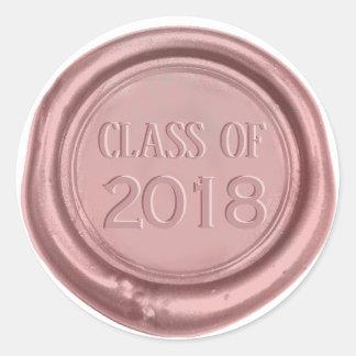 Sticker Rond Classe d'obtention du diplôme de joint rose de