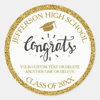Sticker Rond Classe faite sur commande d'or de diplômé de