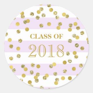 Sticker Rond Classe pourpre 2018 d'obtention du diplôme de