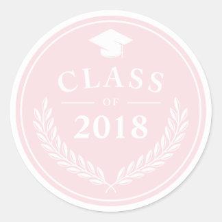 Sticker Rond Classe rose-clair de guirlande de laurier de