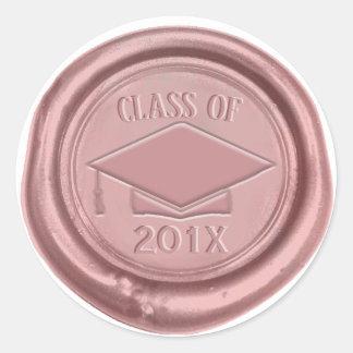 Sticker Rond Classe rose de casquette d'obtention du diplôme