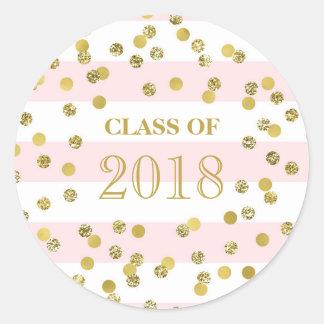 Sticker Rond Classe rose d'obtention du diplôme de confettis