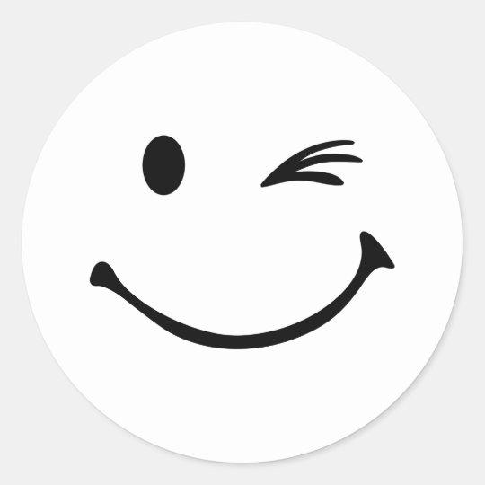 Sticker rond clin d 39 oeil souriant - Smiley en noir et blanc ...
