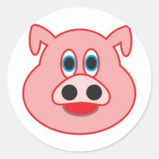 Sticker Rond Cochon Petit Dessin D Illustration Didactique Zazzle Fr