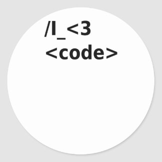 Sticker Rond Code I <3