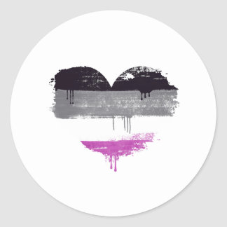 STICKER ROND COEUR ASEXUEL - AMOUR ASEXUEL -