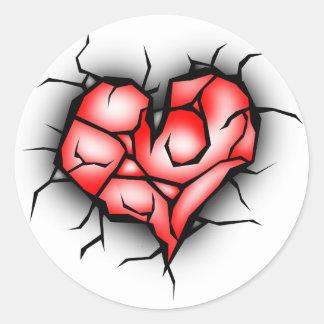 Sticker Rond Coeur cassé et brisé