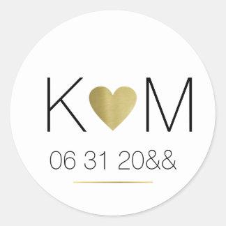 Sticker Rond coeur d'amour d'or de faux avec des initiales de